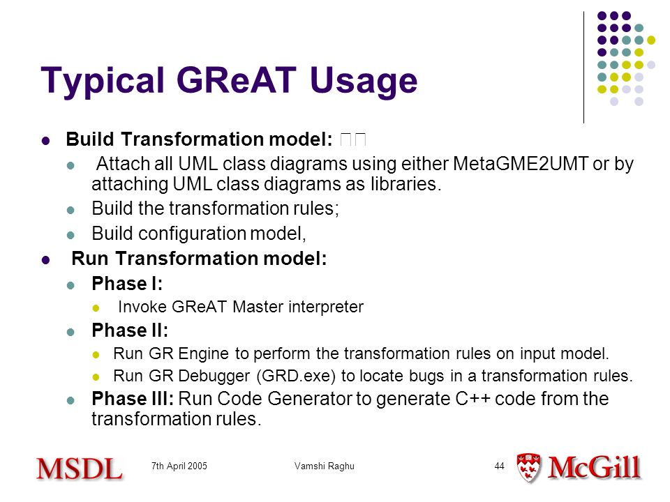 7th April 2005Vamshi Raghu44 Typical GReAT Usage Build Transformation model: Attach all UML class diagrams using either MetaGME2UMT or by attaching UML class diagrams as libraries.