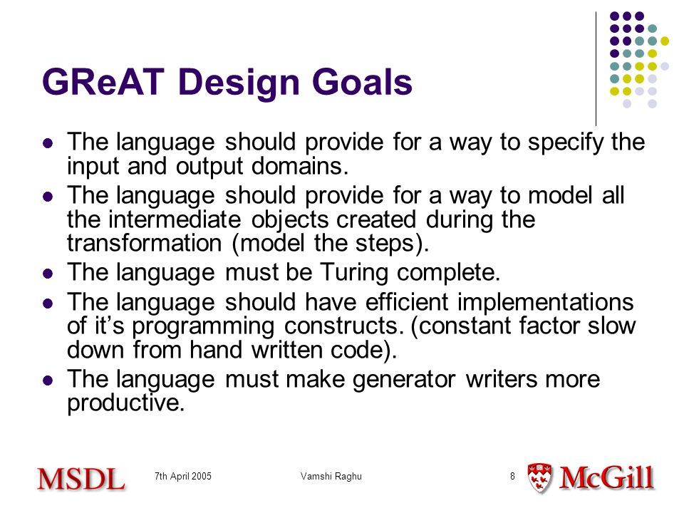 7th April 2005Vamshi Raghu8 GReAT Design Goals The language should provide for a way to specify the input and output domains.