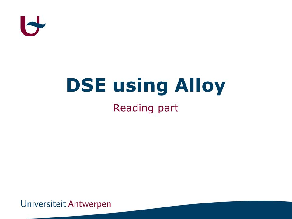 DSE using Alloy Reading part