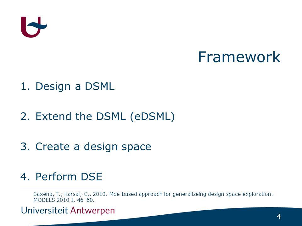 4 Framework 1.Design a DSML 2.Extend the DSML (eDSML) 3.Create a design space 4.Perform DSE __________________________ Saxena, T., Karsai, G., 2010.