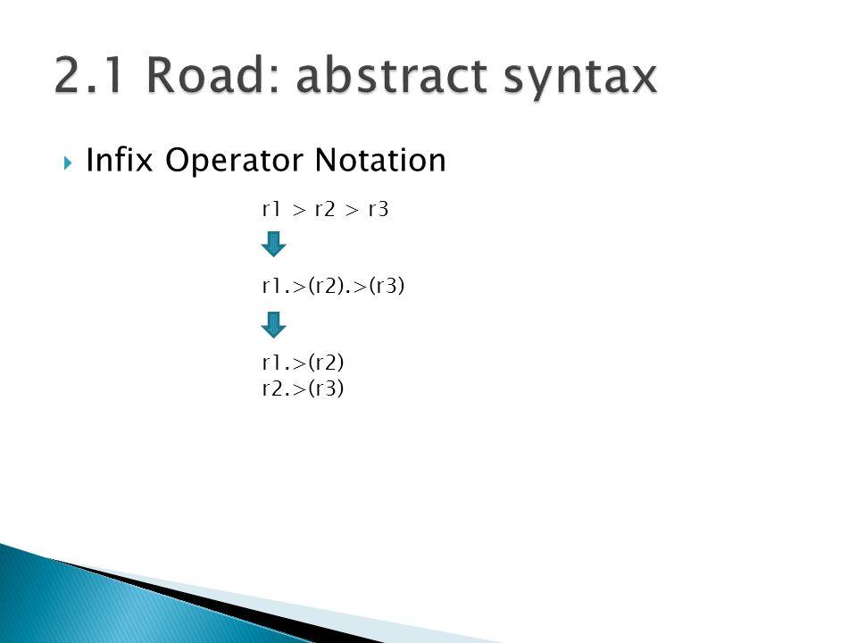  Infix Operator Notation r1 > r2 > r3 r1.>(r2).>(r3) r1.>(r2) r2.>(r3)