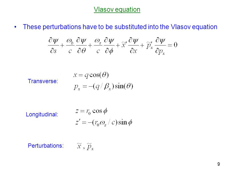 Linearization Linearization for, with the air-bag (hollow-beam) unperturbed distribution and the perturbation leads after averaging to the following equation on the slow-growing mode amplitude A(s) : 10