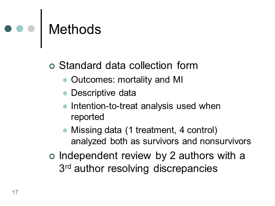 17 Methods Standard data collection form Outcomes: mortality and MI Descriptive data Intention-to-treat analysis used when reported Missing data (1 treatment, 4 control) analyzed both as survivors and nonsurvivors Independent review by 2 authors with a 3 rd author resolving discrepancies