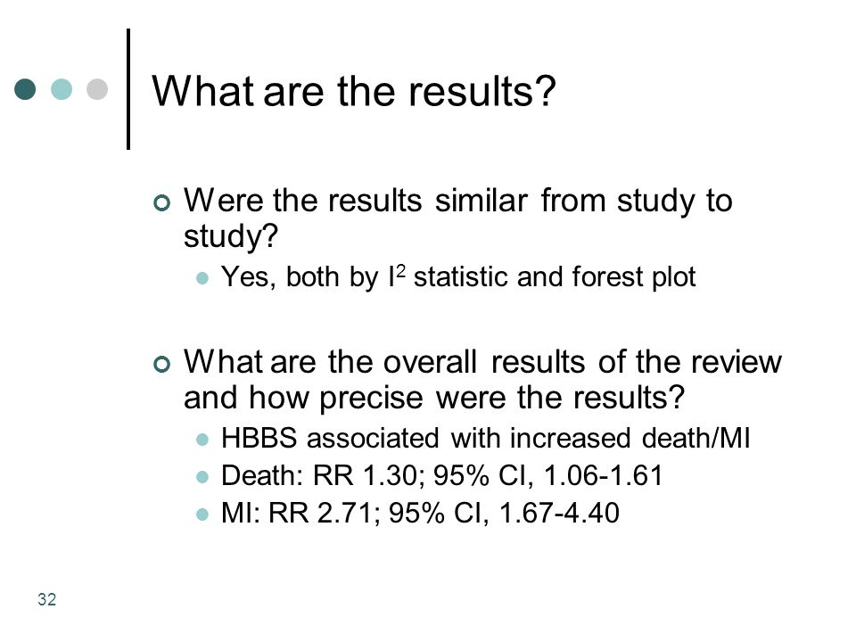 32 What are the results. Were the results similar from study to study.
