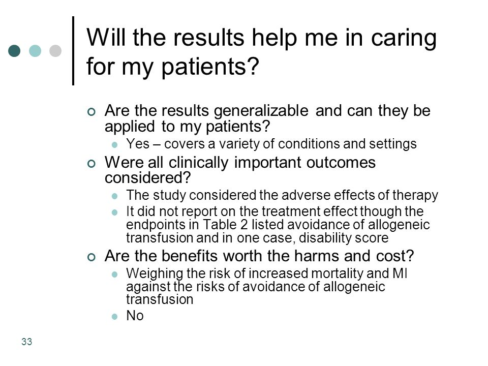 33 Will the results help me in caring for my patients.