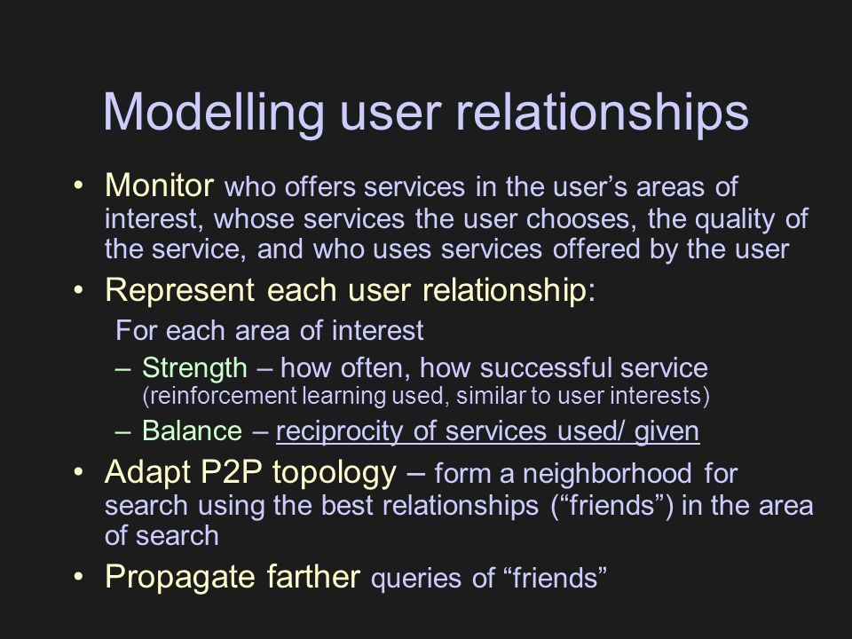 Modelling user relationships Monitor who offers services in the user's areas of interest, whose services the user chooses, the quality of the service,