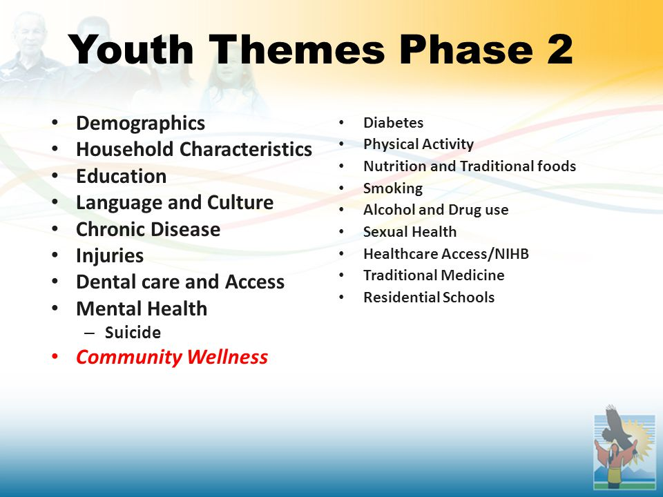 Youth Themes Phase 2 Demographics Household Characteristics Education Language and Culture Chronic Disease Injuries Dental care and Access Mental Health – Suicide Community Wellness Diabetes Physical Activity Nutrition and Traditional foods Smoking Alcohol and Drug use Sexual Health Healthcare Access/NIHB Traditional Medicine Residential Schools