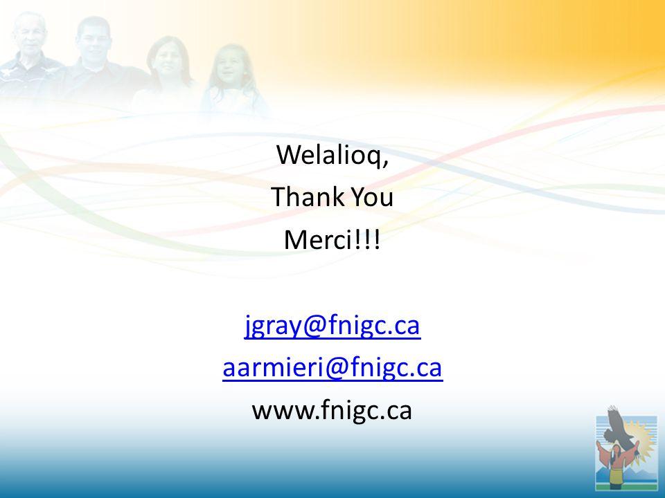 Welalioq, Thank You Merci!!! jgray@fnigc.ca aarmieri@fnigc.ca www.fnigc.ca
