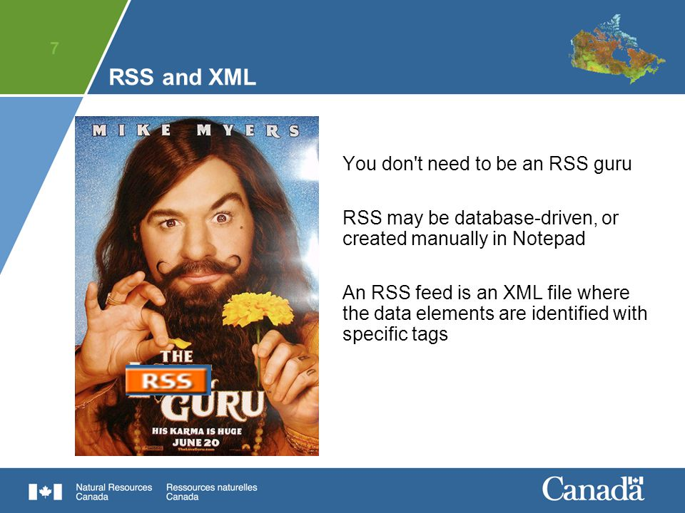 7 RSS and XML You don t need to be an RSS guru RSS may be database-driven, or created manually in Notepad An RSS feed is an XML file where the data elements are identified with specific tags