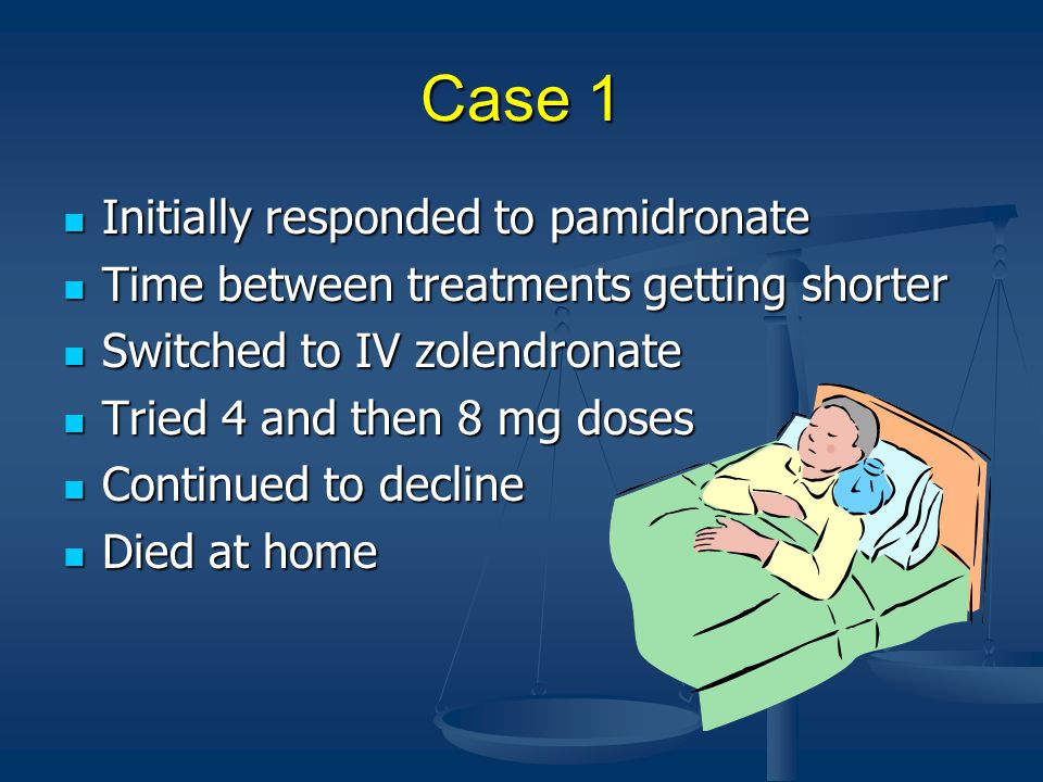 Case 1 Initially responded to pamidronate Initially responded to pamidronate Time between treatments getting shorter Time between treatments getting shorter Switched to IV zolendronate Switched to IV zolendronate Tried 4 and then 8 mg doses Tried 4 and then 8 mg doses Continued to decline Continued to decline Died at home Died at home
