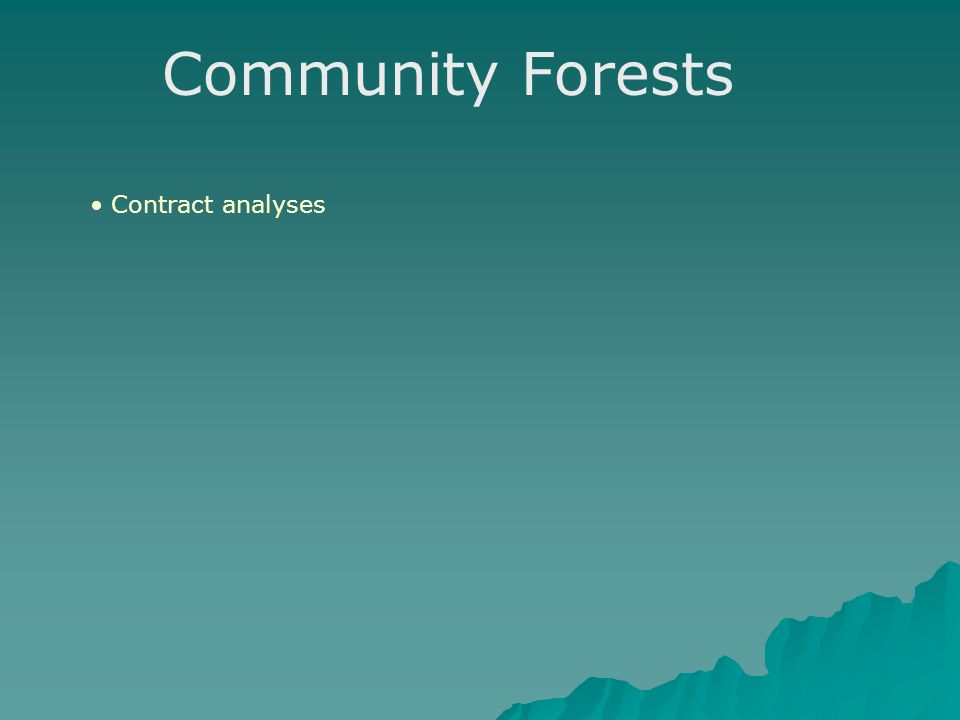 Community Forests Contract analyses