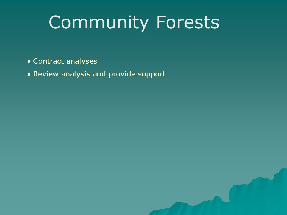 Community Forests Contract analyses Review analysis and provide support