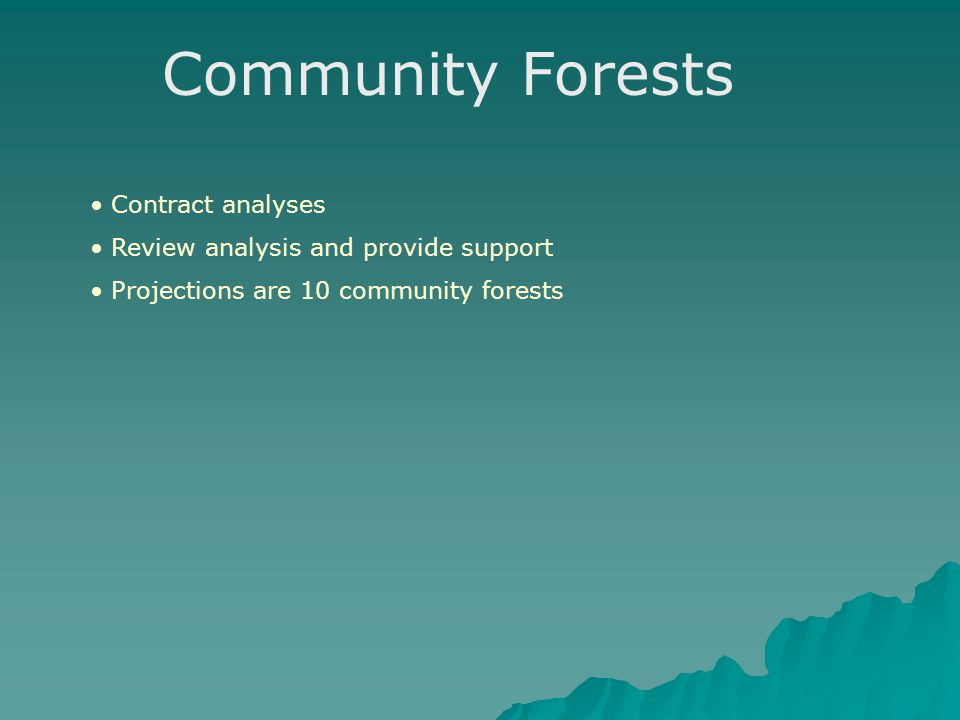 Community Forests Contract analyses Review analysis and provide support Projections are 10 community forests
