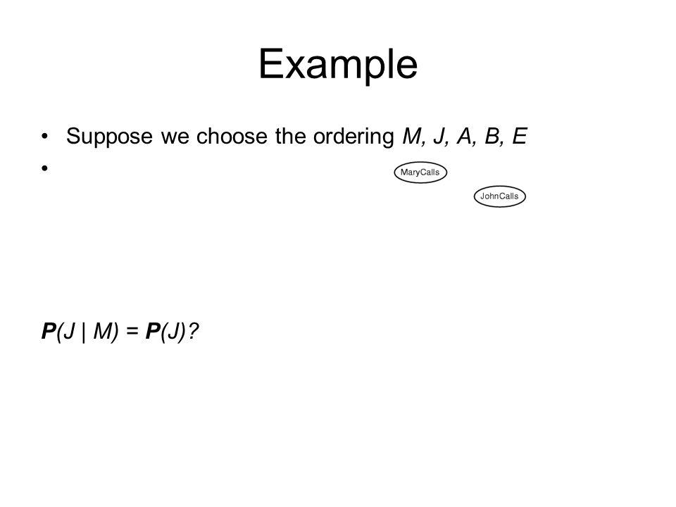 Suppose we choose the ordering M, J, A, B, E P(J | M) = P(J)? Example