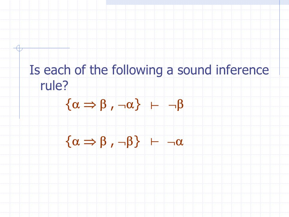Soundness An inference rule is sound if it generates only entailed sentences All inference rules previously given are sound, e.g.: modus ponens: {  