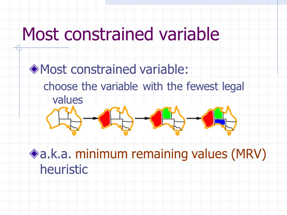Most constrained variable Most constrained variable: choose the variable with the fewest legal values a.k.a.