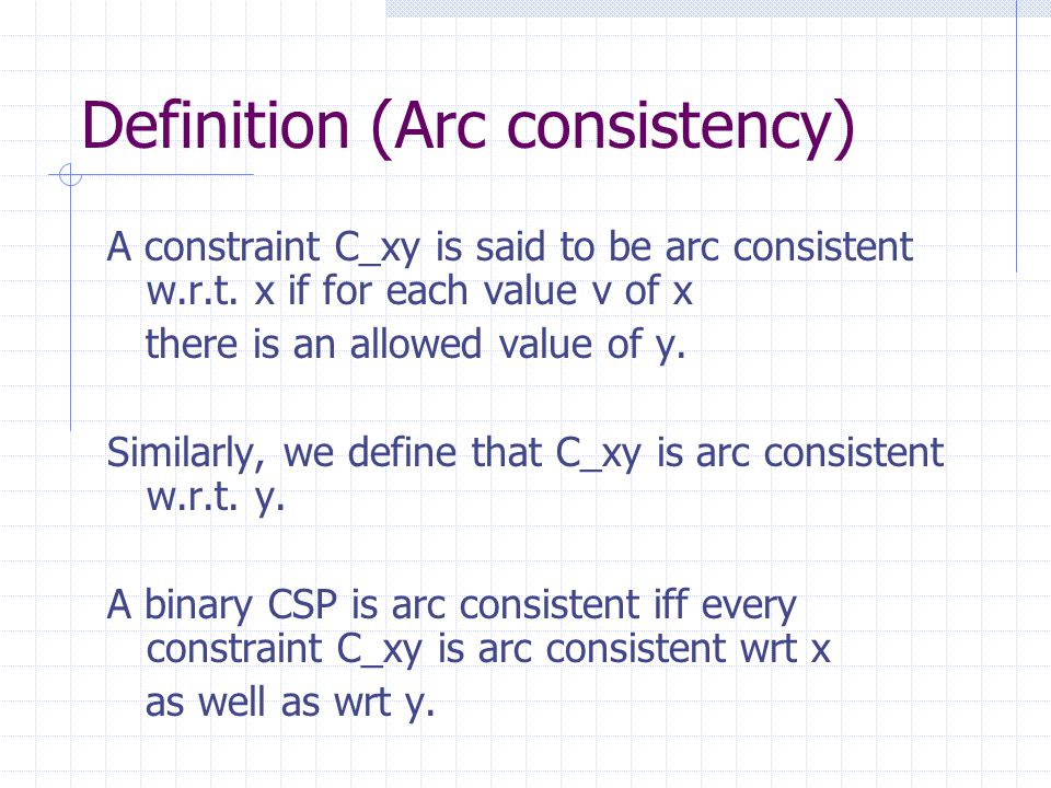 Definition (Arc consistency) A constraint C_xy is said to be arc consistent w.r.t.