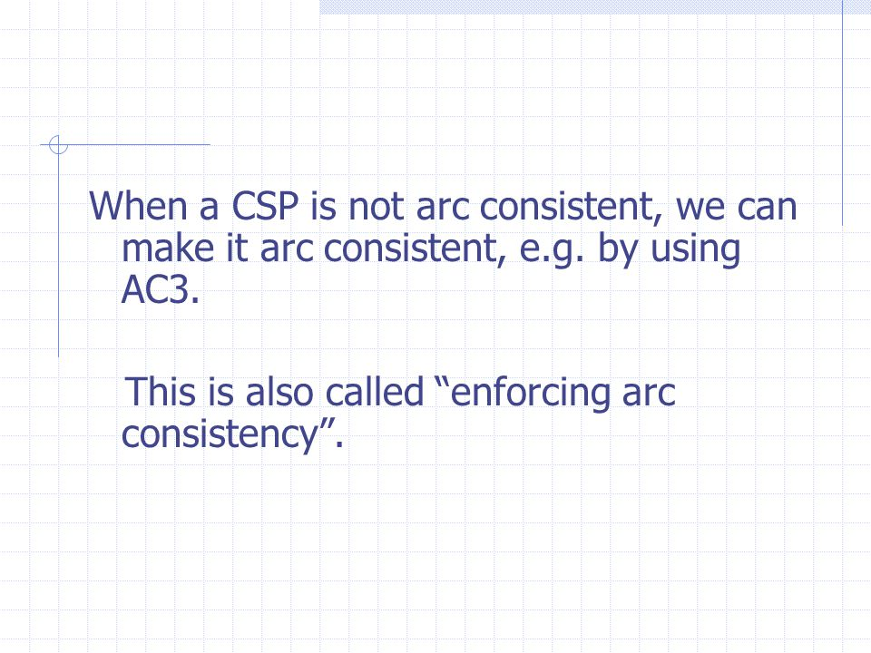 When a CSP is not arc consistent, we can make it arc consistent, e.g.