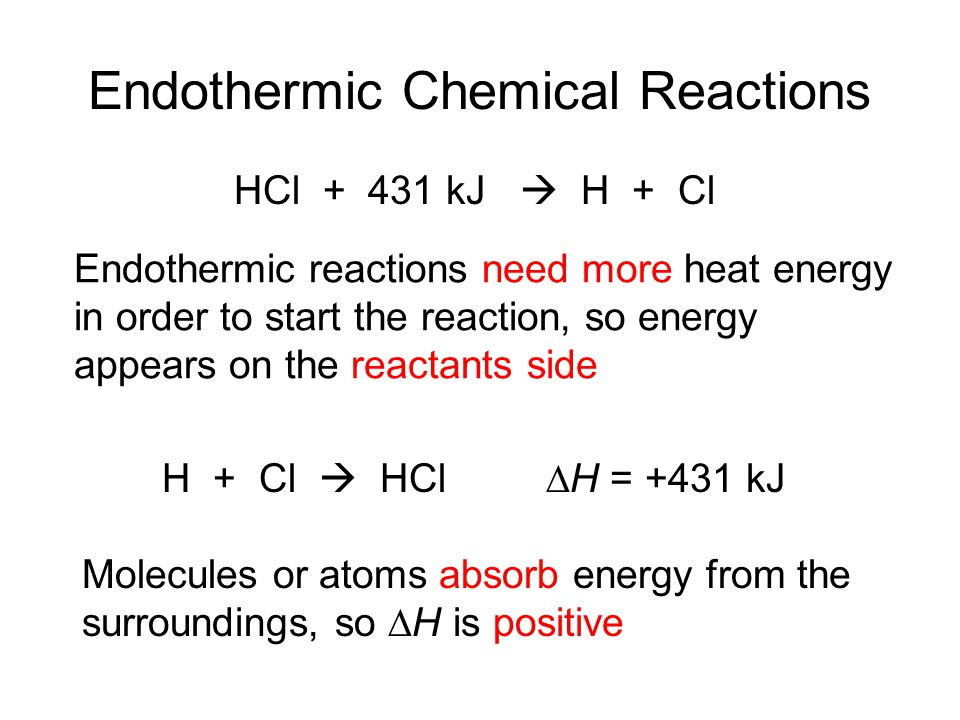 Endothermic Chemical Reactions Endothermic reactions need more heat energy in order to start the reaction, so energy appears on the reactants side Molecules or atoms absorb energy from the surroundings, so ∆H is positive HCl + 431 kJ  H + Cl H + Cl  HCl∆H = +431 kJ