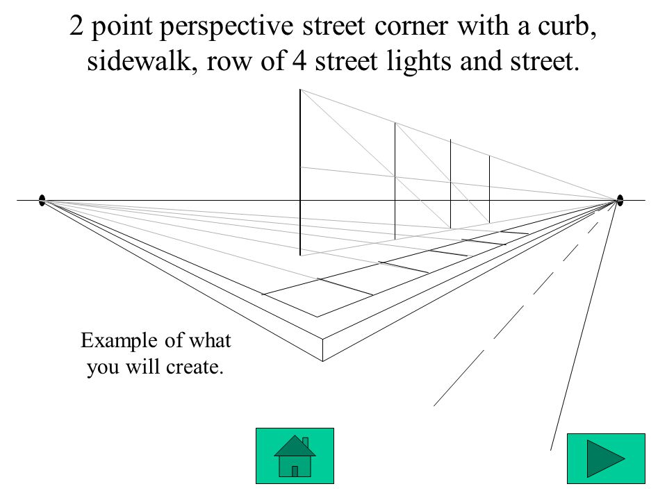 2 point perspective street corner with a curb, sidewalk, row of 4 street lights and street. Example of what you will create.