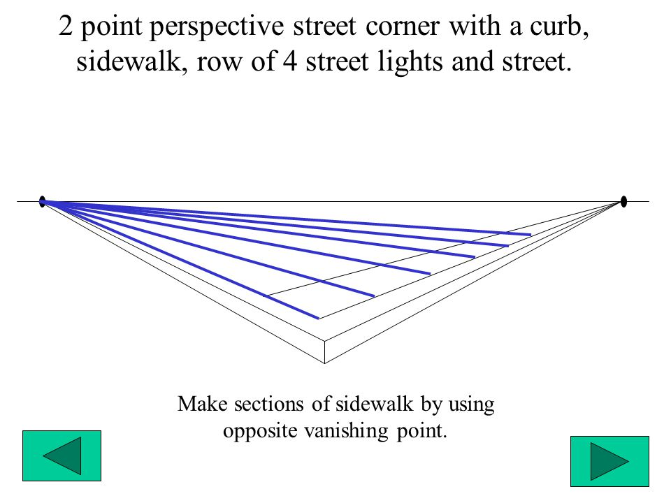 2 point perspective street corner with a curb, sidewalk, row of 4 street lights and street. Make sections of sidewalk by using opposite vanishing poin
