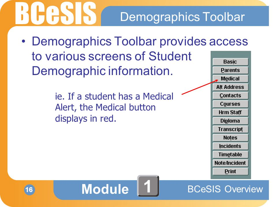 BCeSIS Module BCeSIS Overview 16 1 Demographics Toolbar Demographics Toolbar provides access to various screens of Student Demographic information.