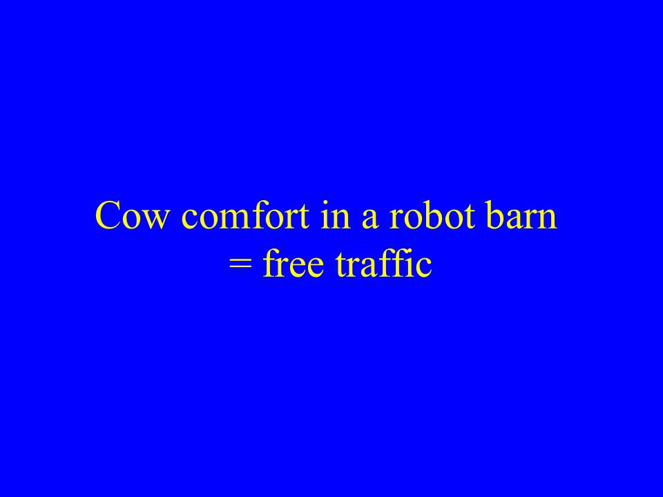 Cow comfort in a robot barn = free traffic