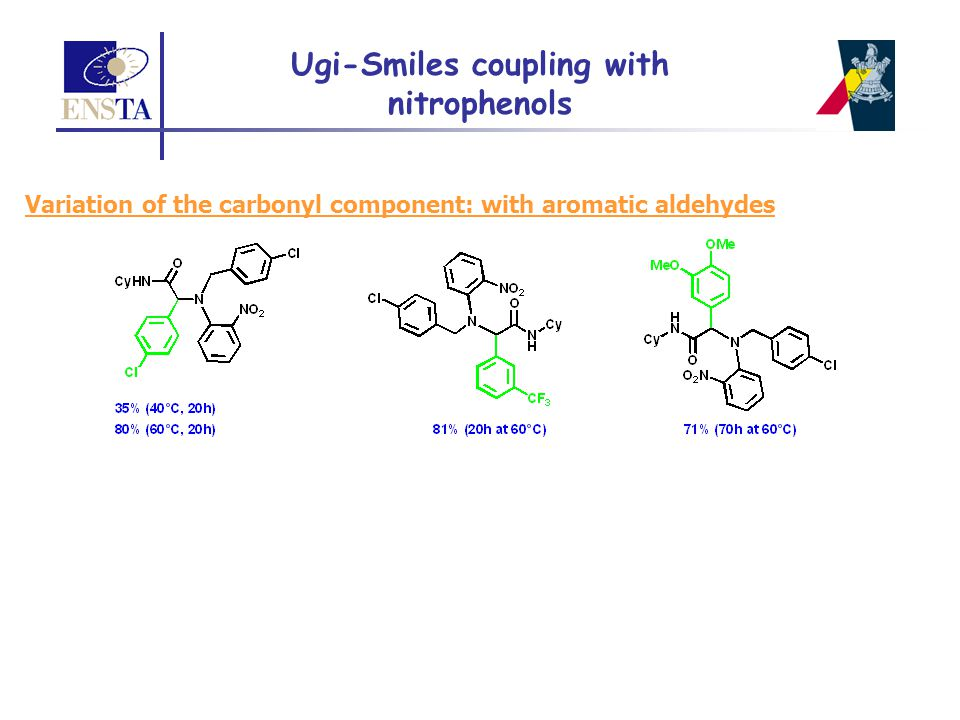 Ugi-Smiles coupling with nitrophenols Variation of the carbonyl component: with aromatic aldehydes