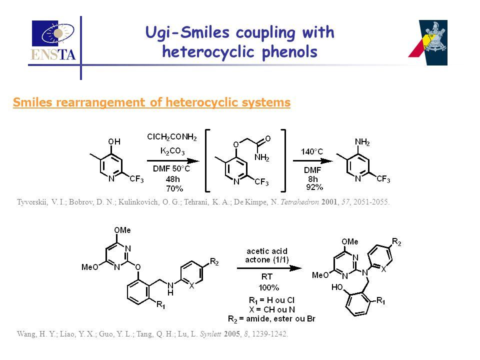 Smiles rearrangement of heterocyclic systems Tyvorskii, V. I.; Bobrov, D. N.; Kulinkovich, O. G.; Tehrani, K. A.; De Kimpe, N. Tetrahedron 2001, 57, 2