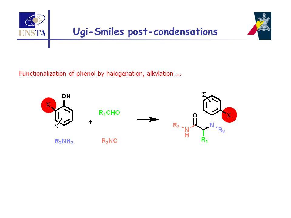 Functionalization of phenol by halogenation, alkylation... Ugi-Smiles post-condensations