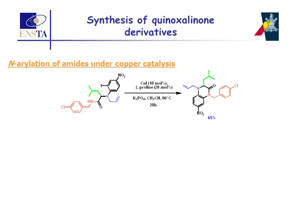 N-arylation of amides under copper catalysis Synthesis of quinoxalinone derivatives