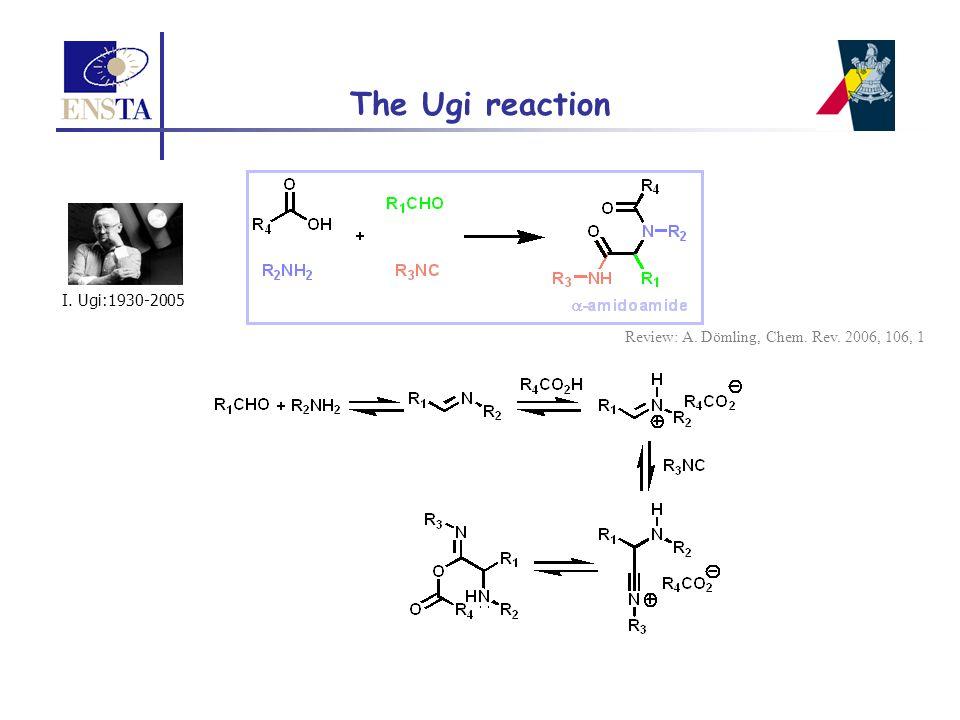 The Ugi reaction I. Ugi:1930-2005 Review: A. Dömling, Chem. Rev. 2006, 106, 1