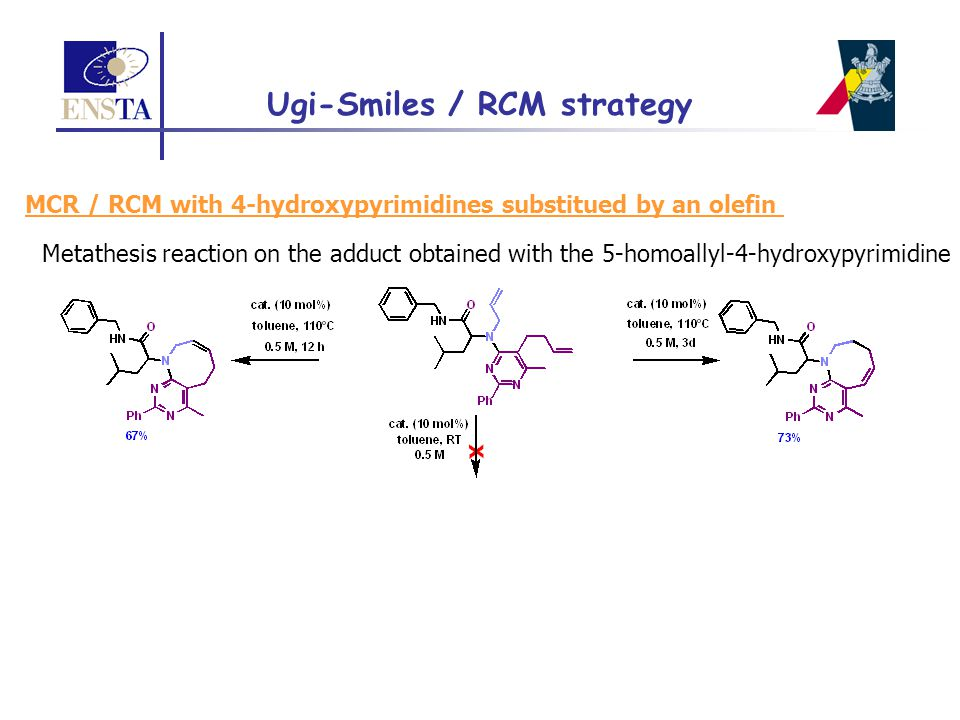 MCR / RCM with 4-hydroxypyrimidines substitued by an olefin Metathesis reaction on the adduct obtained with the 5-homoallyl-4-hydroxypyrimidine Ugi-Sm