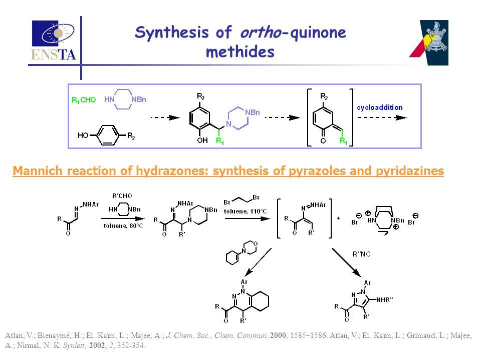 Mannich reaction of hydrazones: synthesis of pyrazoles and pyridazines Atlan, V.; Bienaymé, H.; El. Kaïm, L.; Majee, A.; J. Chem. Soc., Chem. Commun.