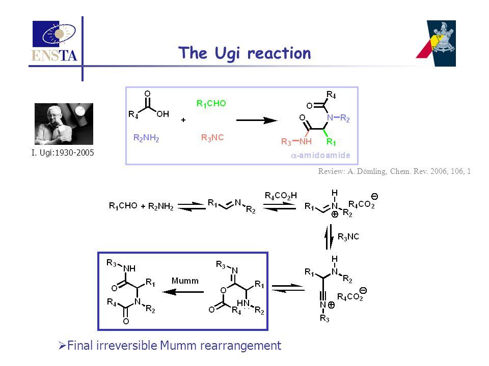 The Ugi reaction  Final irreversible Mumm rearrangement I. Ugi:1930-2005 Review: A. Dömling, Chem. Rev. 2006, 106, 1