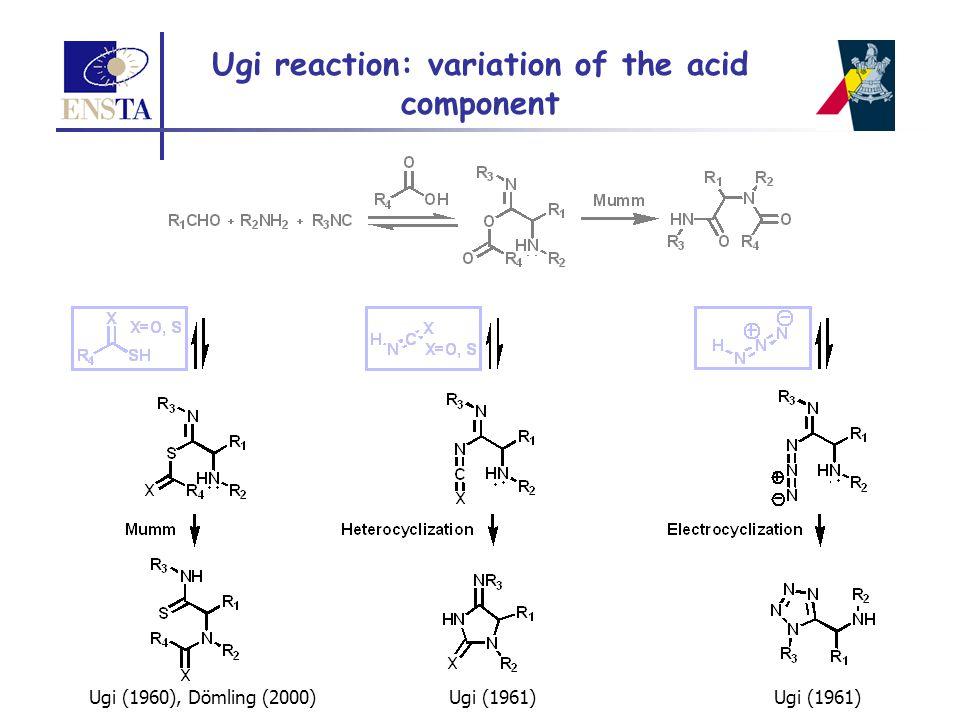 Ugi reaction: variation of the acid component Ugi (1960), Dömling (2000)Ugi (1961)