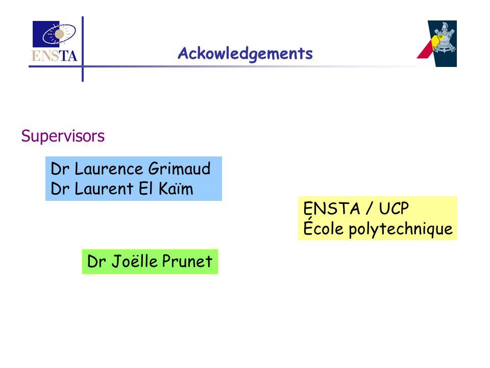 Ackowledgements Dr Laurence Grimaud Dr Laurent El Kaïm ENSTA / UCP École polytechnique Dr Joëlle Prunet Supervisors