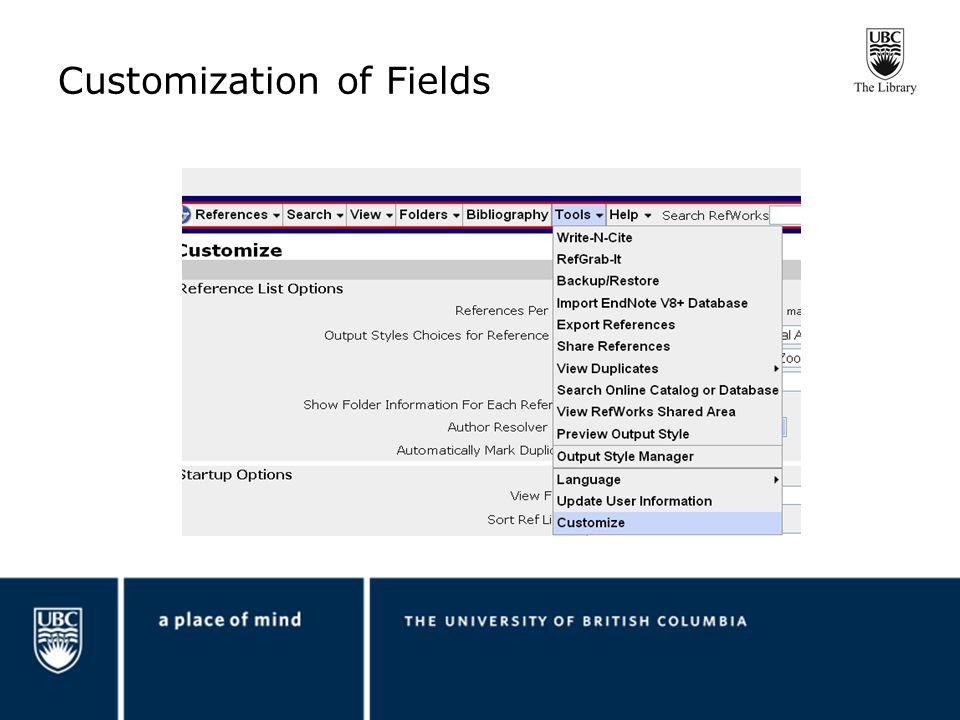 Customization of Fields