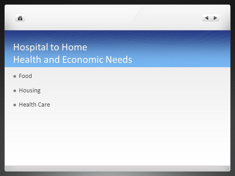 Hospital to Home Health and Economic Needs Food Housing Health Care