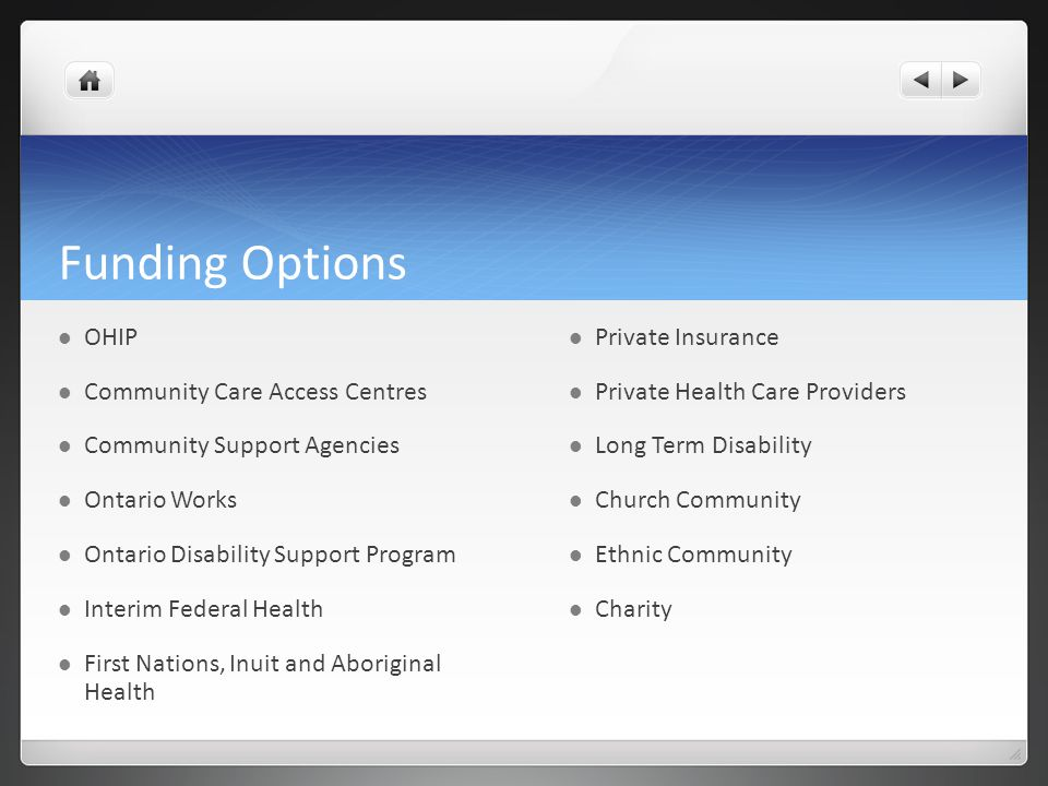 Funding Options OHIP Community Care Access Centres Community Support Agencies Ontario Works Ontario Disability Support Program Interim Federal Health
