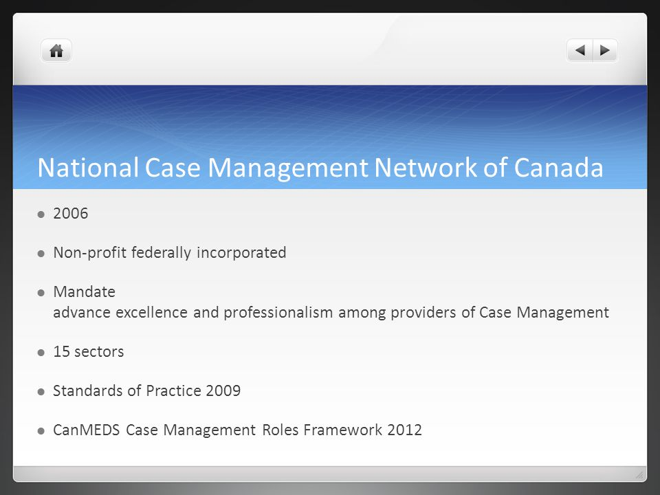 National Case Management Network of Canada 2006 Non-profit federally incorporated Mandate advance excellence and professionalism among providers of Ca