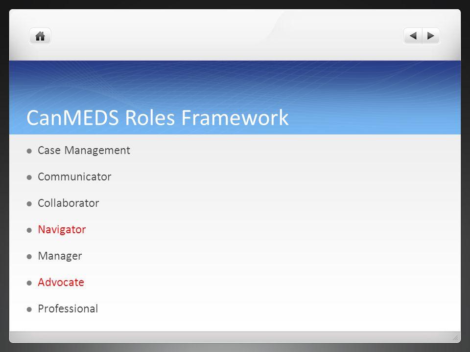 CanMEDS Roles Framework Case Management Communicator Collaborator Navigator Manager Advocate Professional