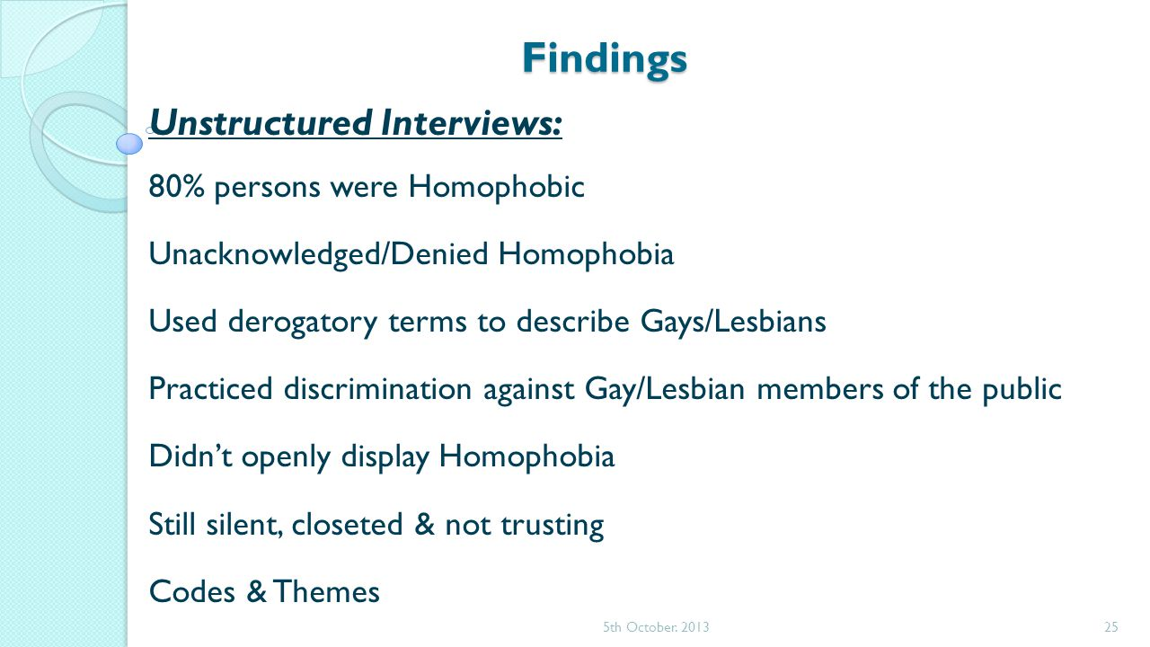 Findings Unstructured Interviews: 80% persons were Homophobic Unacknowledged/Denied Homophobia Used derogatory terms to describe Gays/Lesbians Practiced discrimination against Gay/Lesbian members of the public Didn't openly display Homophobia Still silent, closeted & not trusting Codes & Themes 5th October.