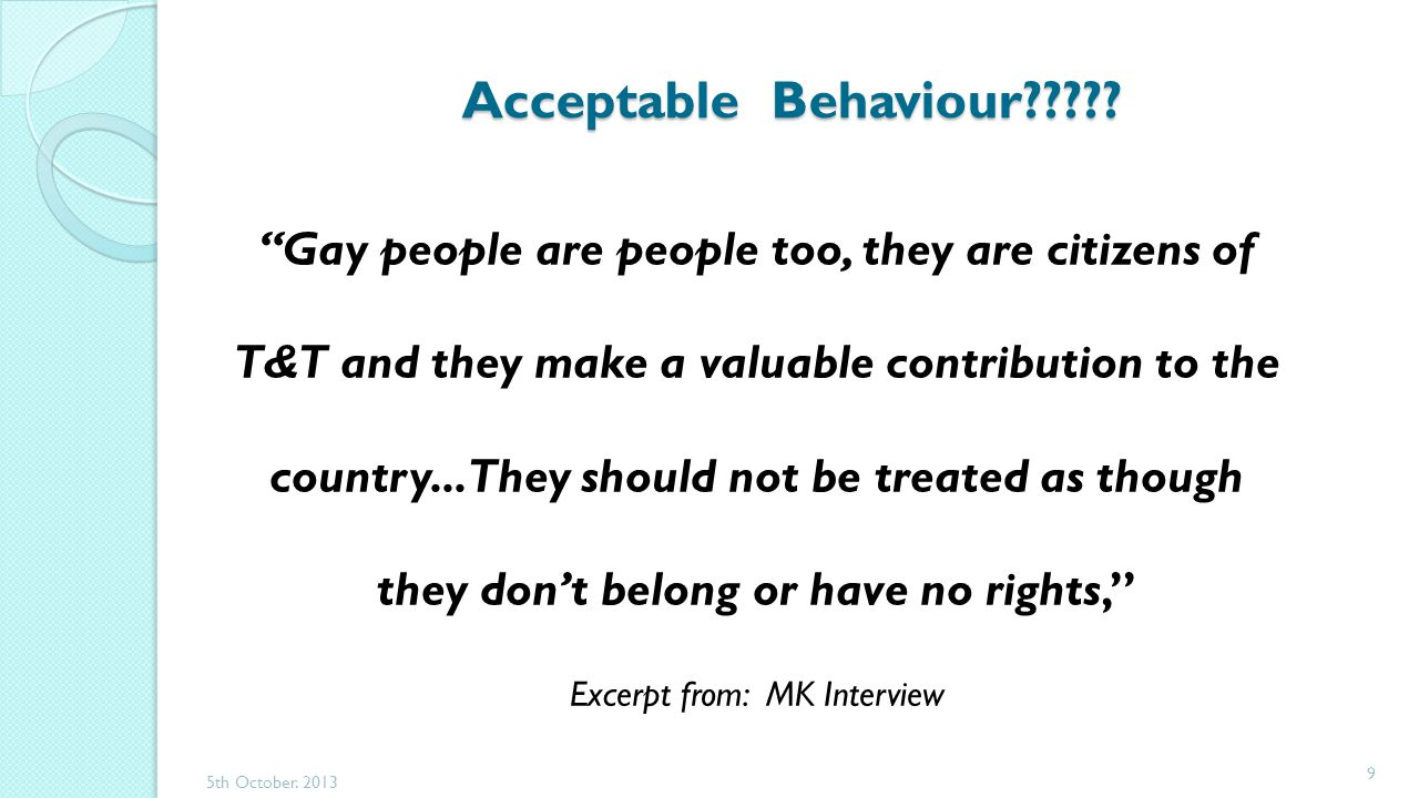 Acceptable Behaviour .