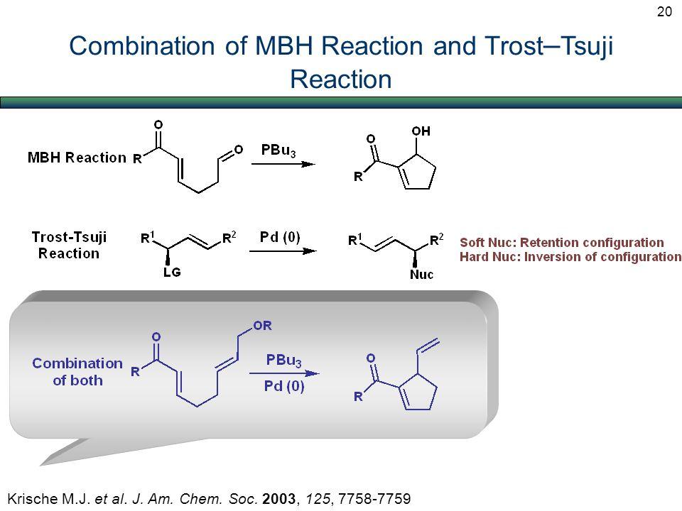 Combination of MBH Reaction and Trost – Tsuji Reaction Krische M.J. et al. J. Am. Chem. Soc. 2003, 125, 7758-7759 20