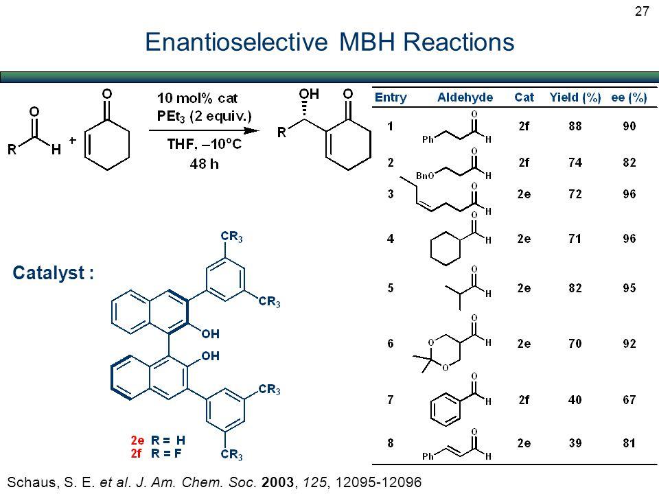 Enantioselective MBH Reactions Schaus, S. E. et al. J. Am. Chem. Soc. 2003, 125, 12095-12096 Catalyst : 27