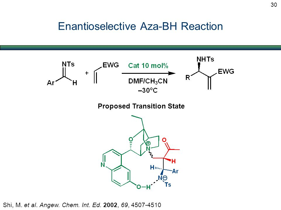Enantioselective Aza-BH Reaction Shi, M. et al. Angew. Chem. Int. Ed. 2002, 69, 4507-4510 Proposed Transition State 30