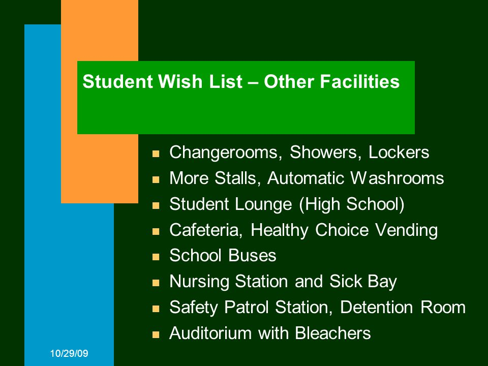 10/29/09 Student Wish List – Other Facilities Changerooms, Showers, Lockers More Stalls, Automatic Washrooms Student Lounge (High School) Cafeteria, Healthy Choice Vending School Buses Nursing Station and Sick Bay Safety Patrol Station, Detention Room Auditorium with Bleachers