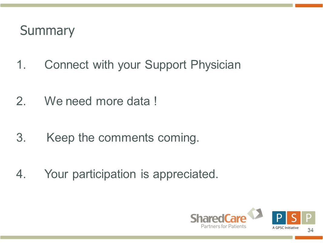 34 Summary 1.Connect with your Support Physician 2.
