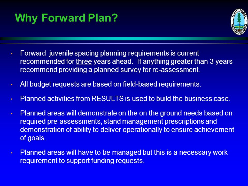 Why Forward Plan.